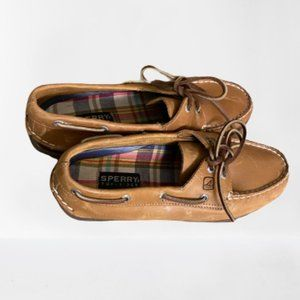 Sperry Tan Leather Boat Shoes Sz 9 Plaid Soles